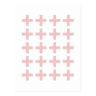 Minimal Pink Geometric Crosses Postcard