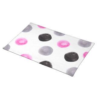 Minimal pink grey black big watercolor polka dots place mat