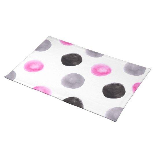 Minimal pink grey black big watercolor polka dots placemat