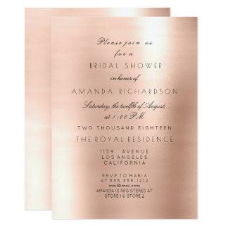 Minimal Pink Rose Blush Sparkly Bridal Shower Card
