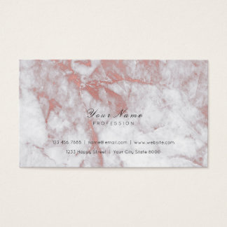 Minimal Pink Rose Gold Delicate Script Marble Gray Business Card
