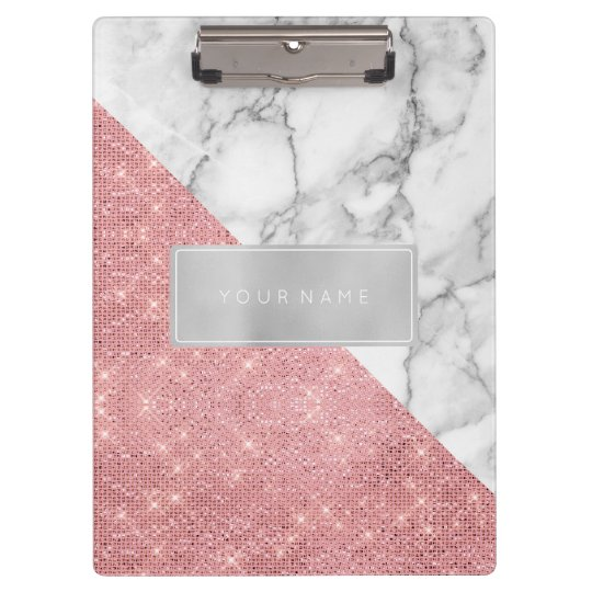 Minimal Pink Rose Gold Metallic Silver Gray Marble