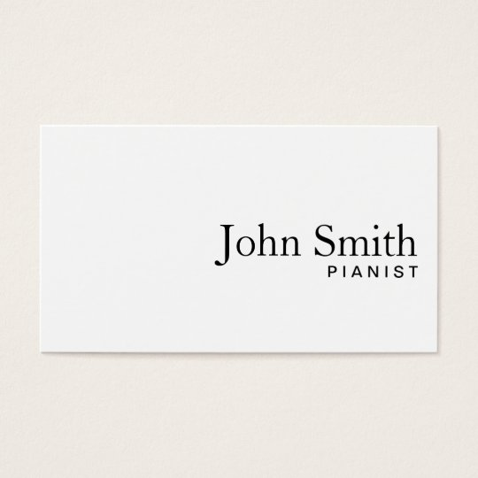 Minimal Plain White Pianist Business Card