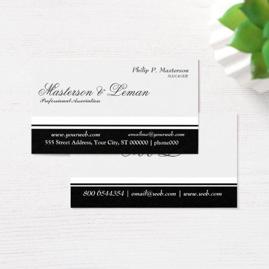 Minimal Professional Balanced Stripe Black White Business Card