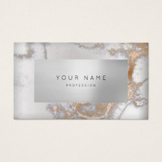 Minimal Rose Copper Marble Appointment Silver VIP Business Card