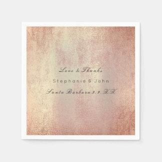 Minimal Rose Gold Blush Copper Skin Custom Name Disposable Napkin