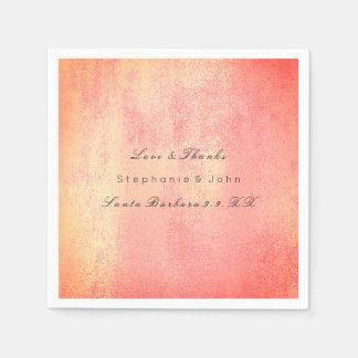 Minimal Rose Gold Blush Coral Peach Custom Name Disposable Napkin