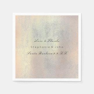 Minimal Rose Gold Blush Gray Silver Custom Name Paper Serviettes
