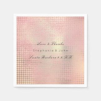Minimal Rose Gold Blush Pink Metallic Custom Name Disposable Napkins