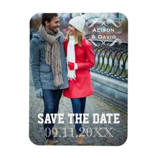 Minimal Save the Date simple wedding photo Rectangular Photo Magnet