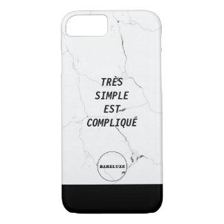 Minimal TRÈS SIMPLE EST COMPLIQUÉ Logo Marble Text iPhone 8/7 Case