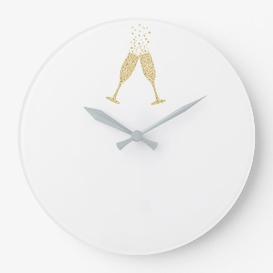 Minimal Vip Diamond Glasses Bubbles White Gold Large Clock