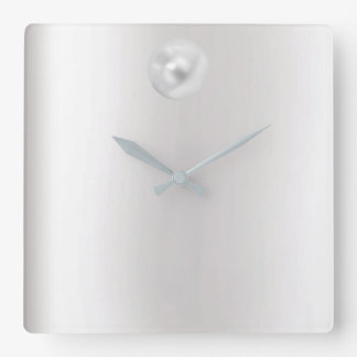 Minimal Vip Gray Silver Pearl Graphite Metallic Square Wall Clock