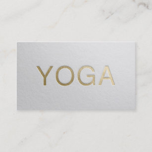 Gold embossed business cards business card printing zazzle uk minimal white gold embossed text yoga instructor business card reheart Images