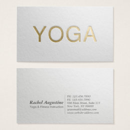 Minimalism business cards business card printing zazzle uk minimal white gold embossed text yoga instructor business card reheart Images