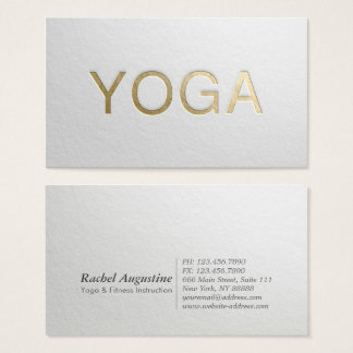 Minimal White & Gold Embossed Text Yoga Instructor Business Card