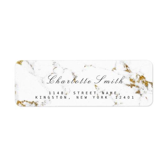 Minimal White Gold Marble Return Address Labels