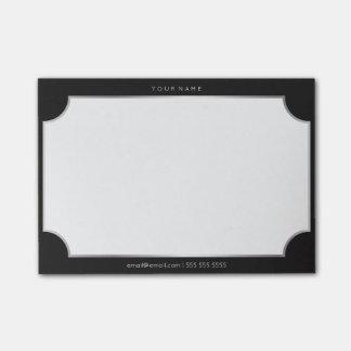 Minimal White Silver Black Rectangle Luxury Kiss Post-it® Notes