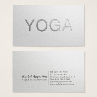 Minimal White Silver Embossed Text Yoga Instructor Business Card