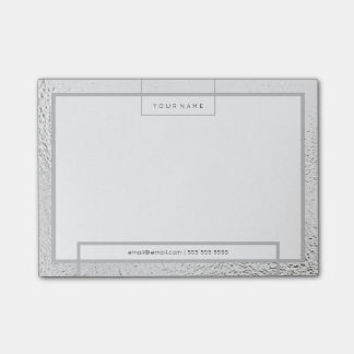 Minimal White Silver Gray Rectangle Luxury Gray Post-it® Notes