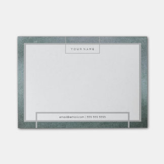 Minimal White Teal Gray Rectangle Luxury Gray Post-it® Notes