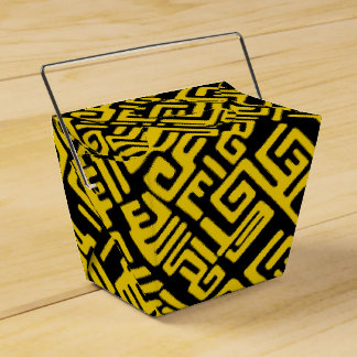Minimal Yellow Black African Tribal Pattern Party Favour Box