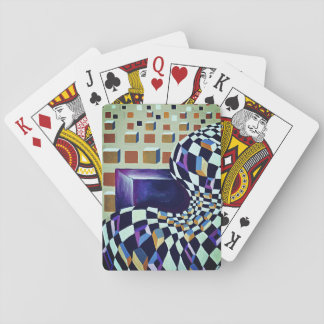 Minimalism 3-d effect with optical illusion playing cards