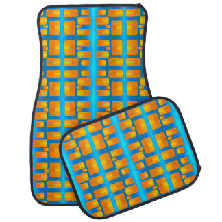 Minimalism Abstract Aqua and Bright Orange Car Mat
