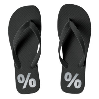 Minimalism Conceptual  Percent Mark Silver Flip Flops