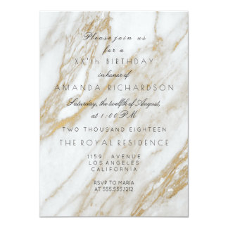 Minimalism Gray Gold White Marble  Birthday Card