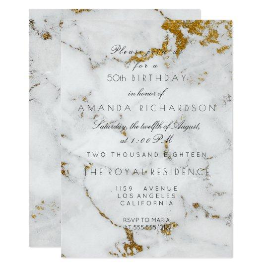 Minimalism Gray White Marble Gold Birthday Card
