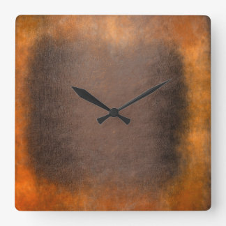 Minimalism Grungy Painting Abstract Gold Brown Square Wall Clock
