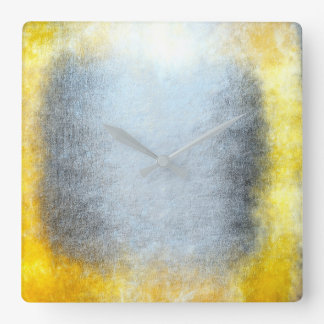Minimalism Grungy Painting Abstract Gray Yellow Square Wall Clock