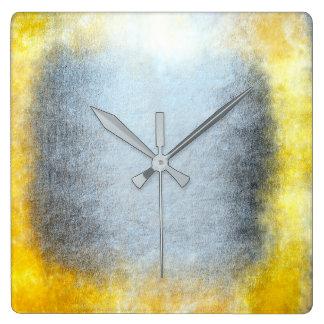 Minimalism Grungy Painting Abstract Gray Yellow Wallclocks