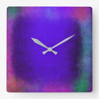 Minimalism Grungy Painting Abstract Rainbow Blue Square Wall Clock