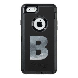 "Minimalism Initials Monogram ""B"" Grungy Silver OtterBox Defender iPhone Case"