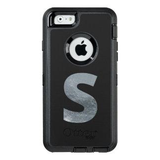 "Minimalism Initials Monogram ""S"" Grungy Silver OtterBox Defender iPhone Case"
