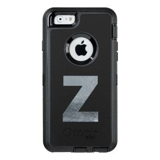 "Minimalism Initials Monogram ""Z"" Grungy Silver OtterBox Defender iPhone Case"