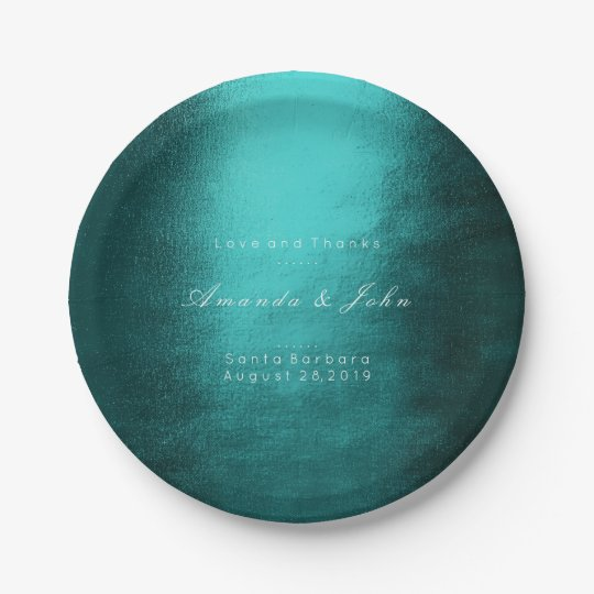 Minimalism Personalized Teal Tropic White Wedding Paper Plate