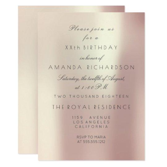 Minimalism Pink Rose Blush Pearly Glam Birthday Card