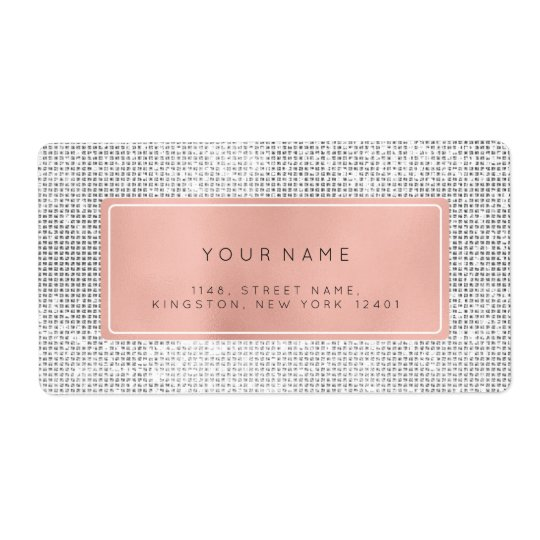 Minimalism Pink Rose Foil Silver Return Address Shipping Label