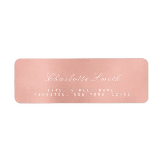 Minimalism Pink Rose Gold Return Address Labels
