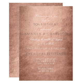Minimalism Powder Pink Rose Gold Birthday 11 Cm X 16 Cm Invitation Card