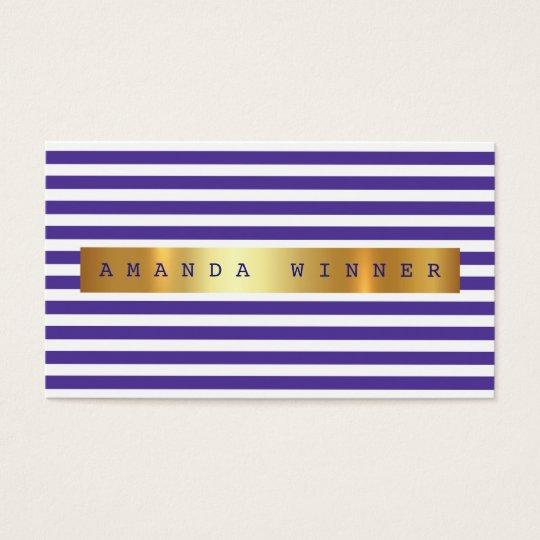 Minimalism Purple White Stripes Vip Golden Foil Business