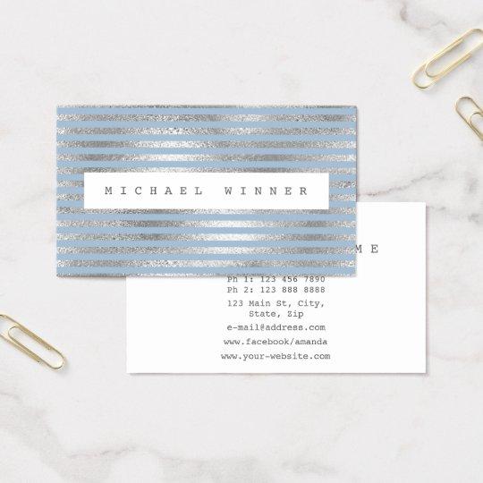 Minimalism Silver Blue Pastel White Stripes Vip Business