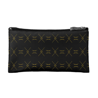 Minimalist Black and Gold Line Pattern Makeup Bag