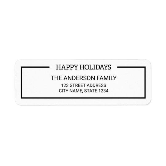 Minimalist Black and White Happy Holidays Address