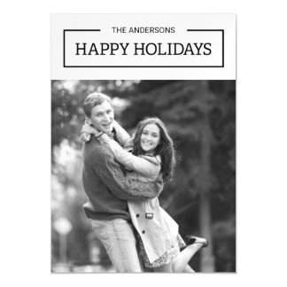 Minimalist Black and White Happy Holidays Photo Magnetic Invitations