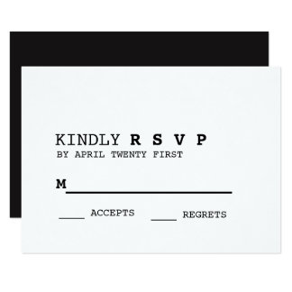 Minimalist Black and White RSVP Card