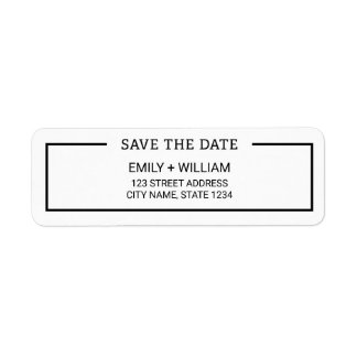 Minimalist Black and White Save the Date Address